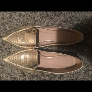 Women's gold loafers